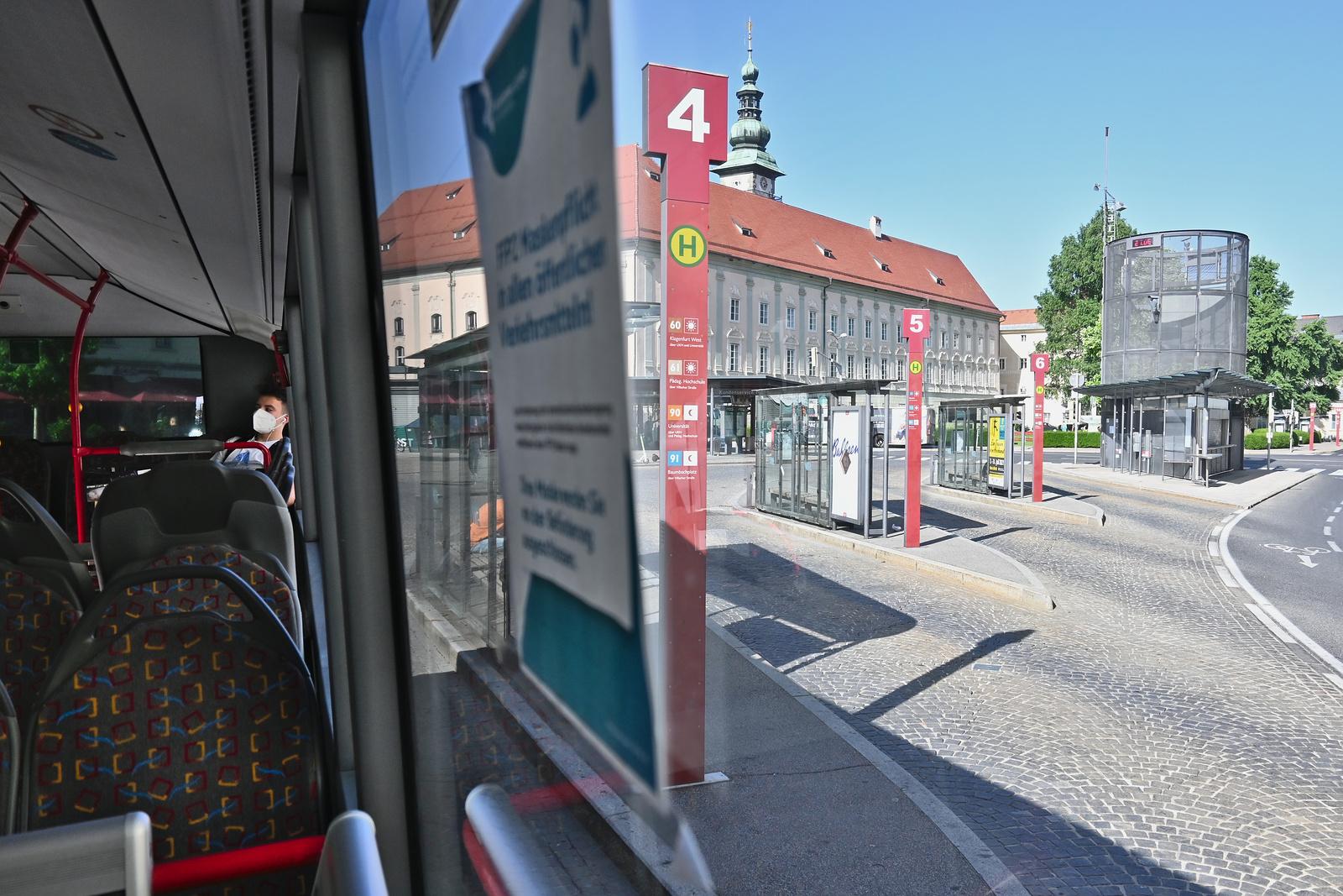 Bussteige in Klagenfurt Heiligengeistplatz